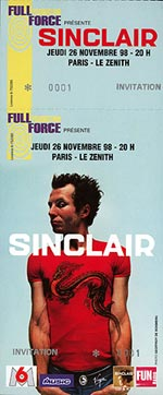 Ticket du concert de sinclair en 98